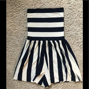 BUTTER BY NADIA jersey striped strapless romper